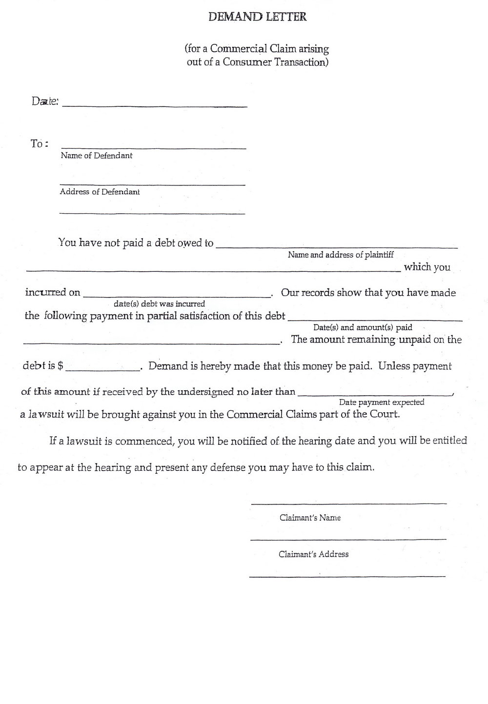 Small Claim Court Forms