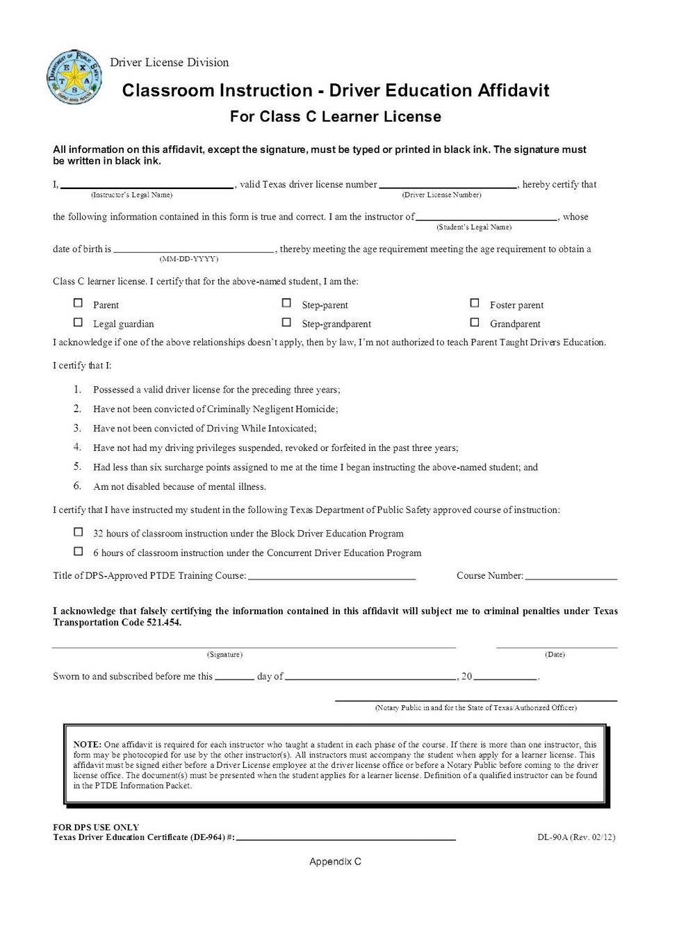 Affidavit Form Texas Dps