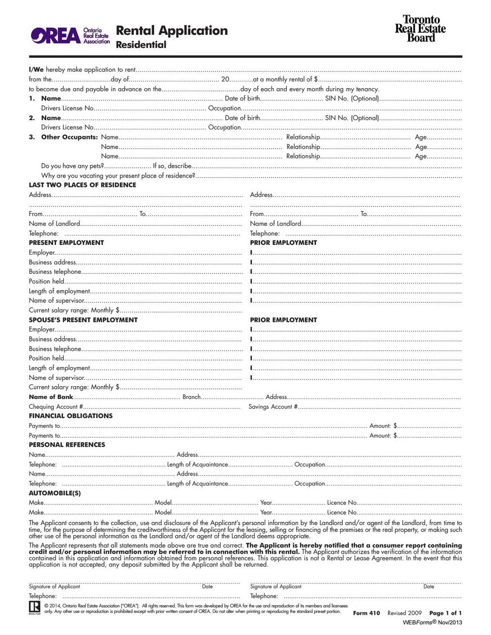 Apartment Rental Application Form Ontario