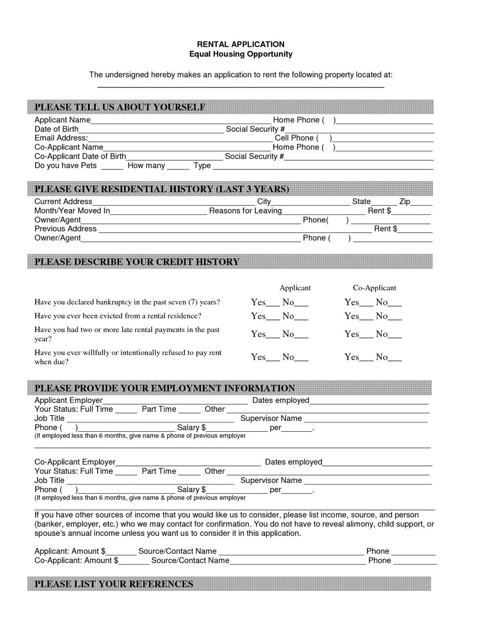 Blank Tenancy Application Form