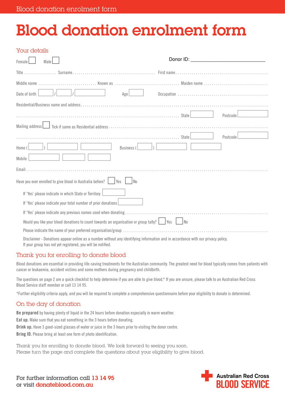Blood Donation Application Form