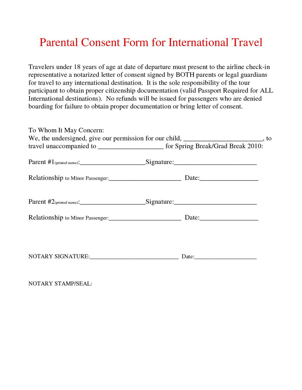 Consent Form For Travel With One Parent