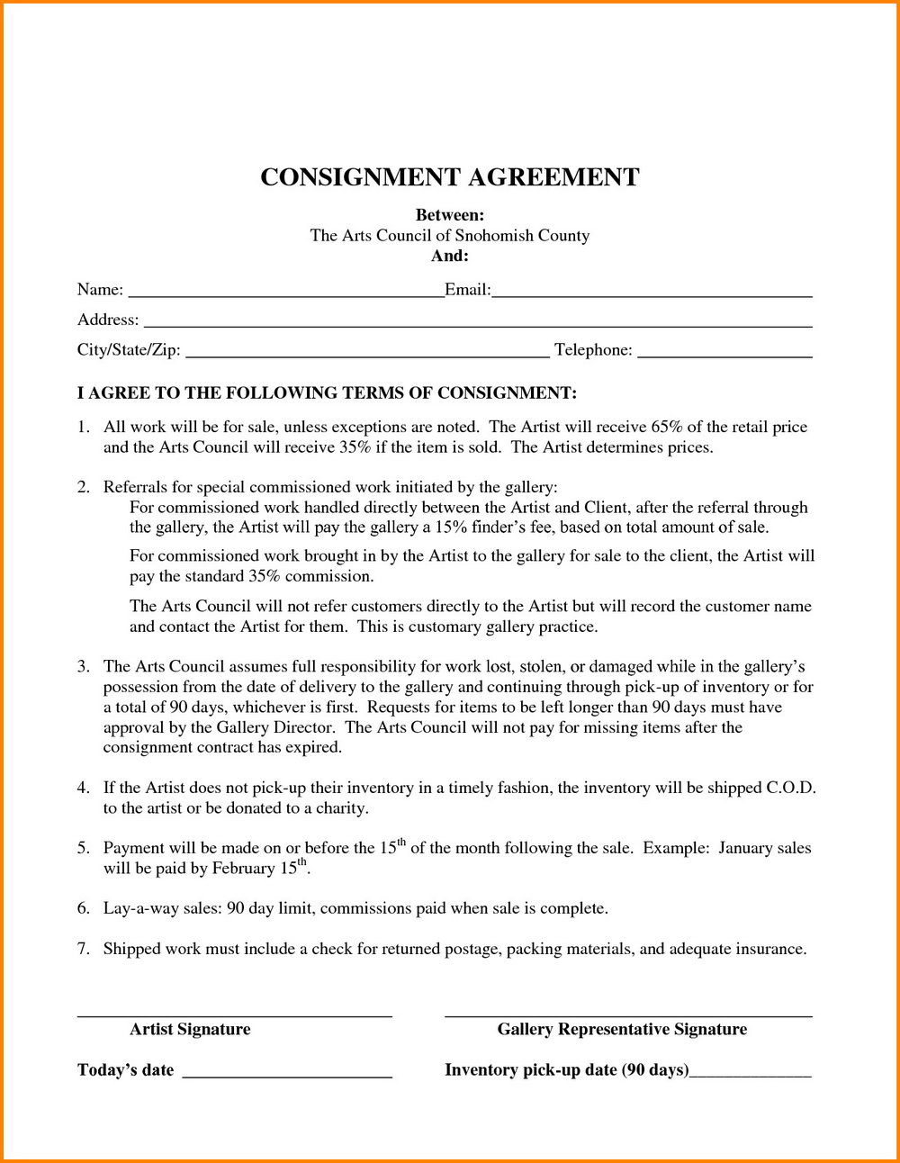Consignment Shop Agreement Form
