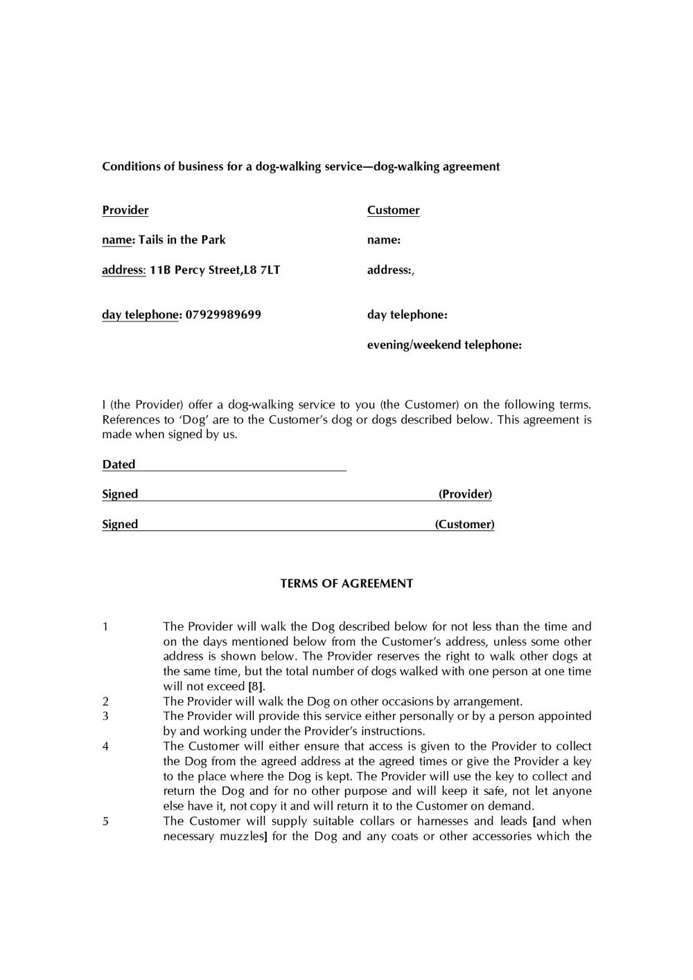 Errand Service Business Forms