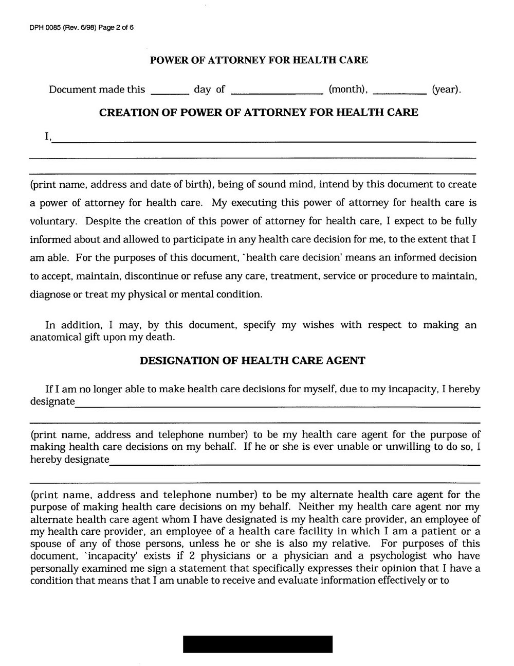 Free Advance Healthcare Directive Form