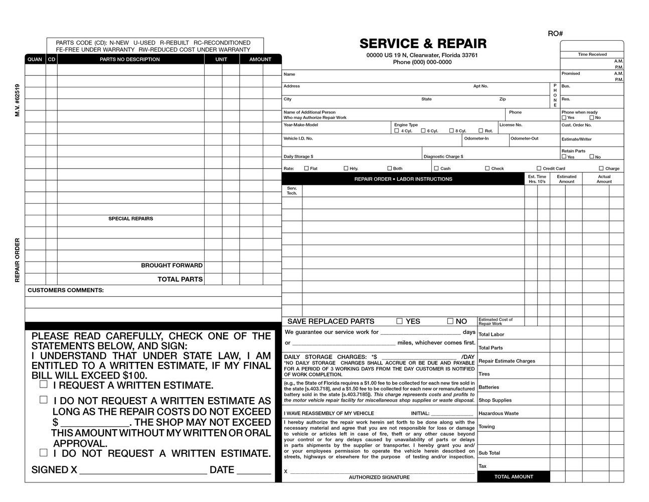 Free Auto Repair Invoice Form