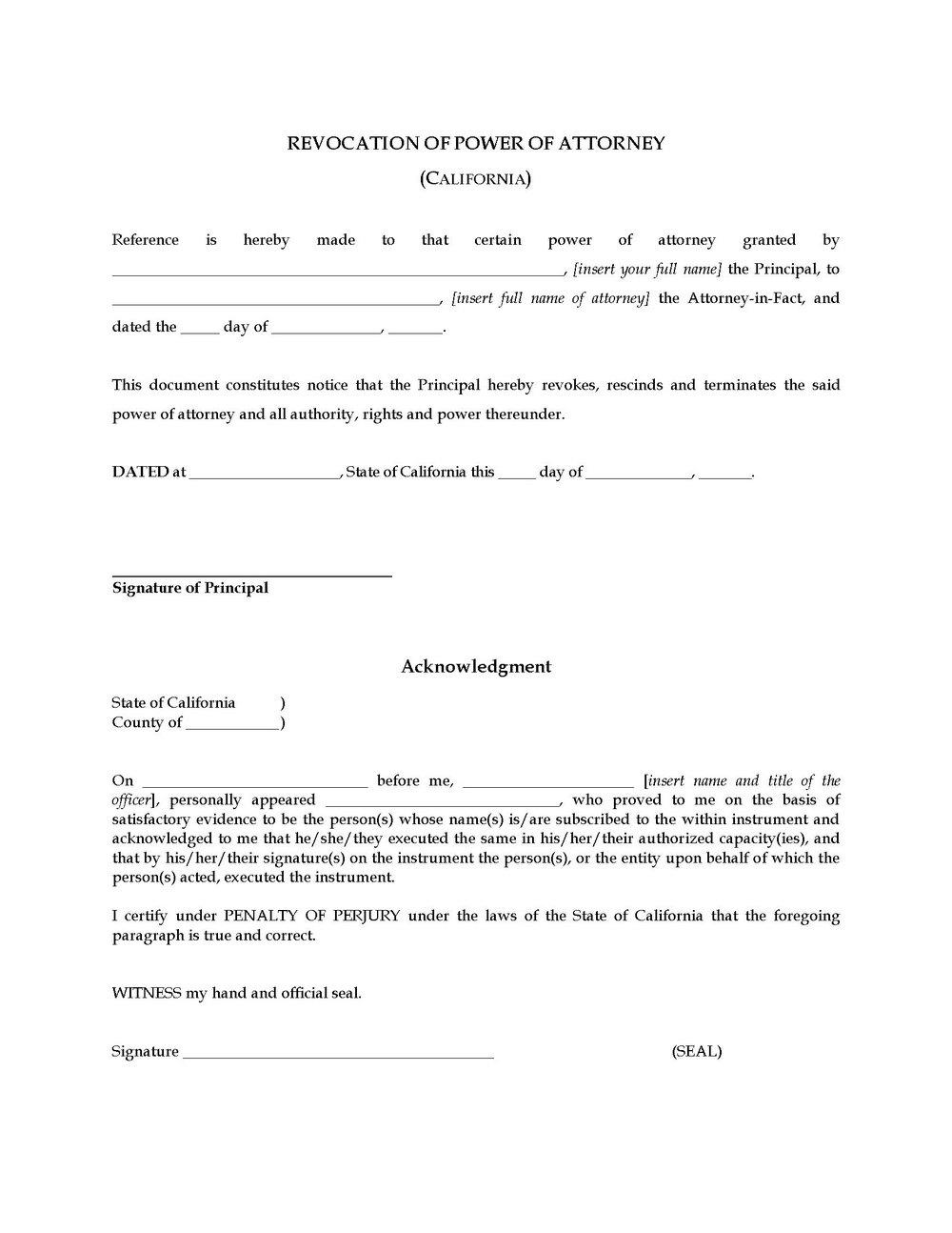 Free Revoke Power Of Attorney Form