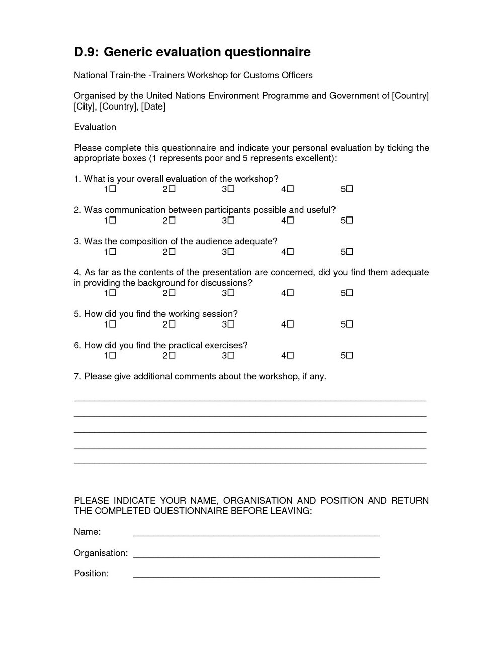 Generic Course Evaluation Form