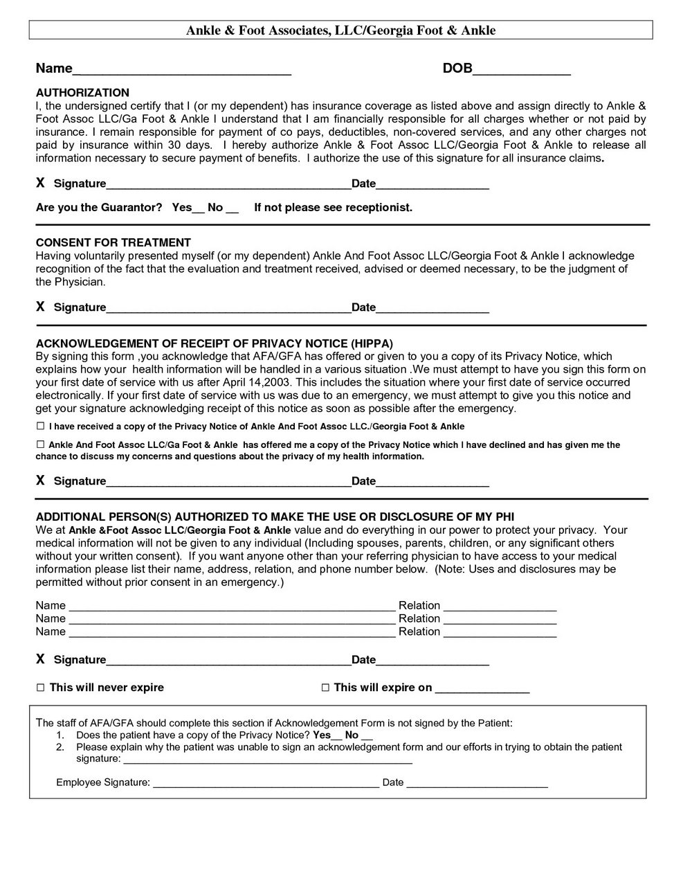Hipaa Form Sample
