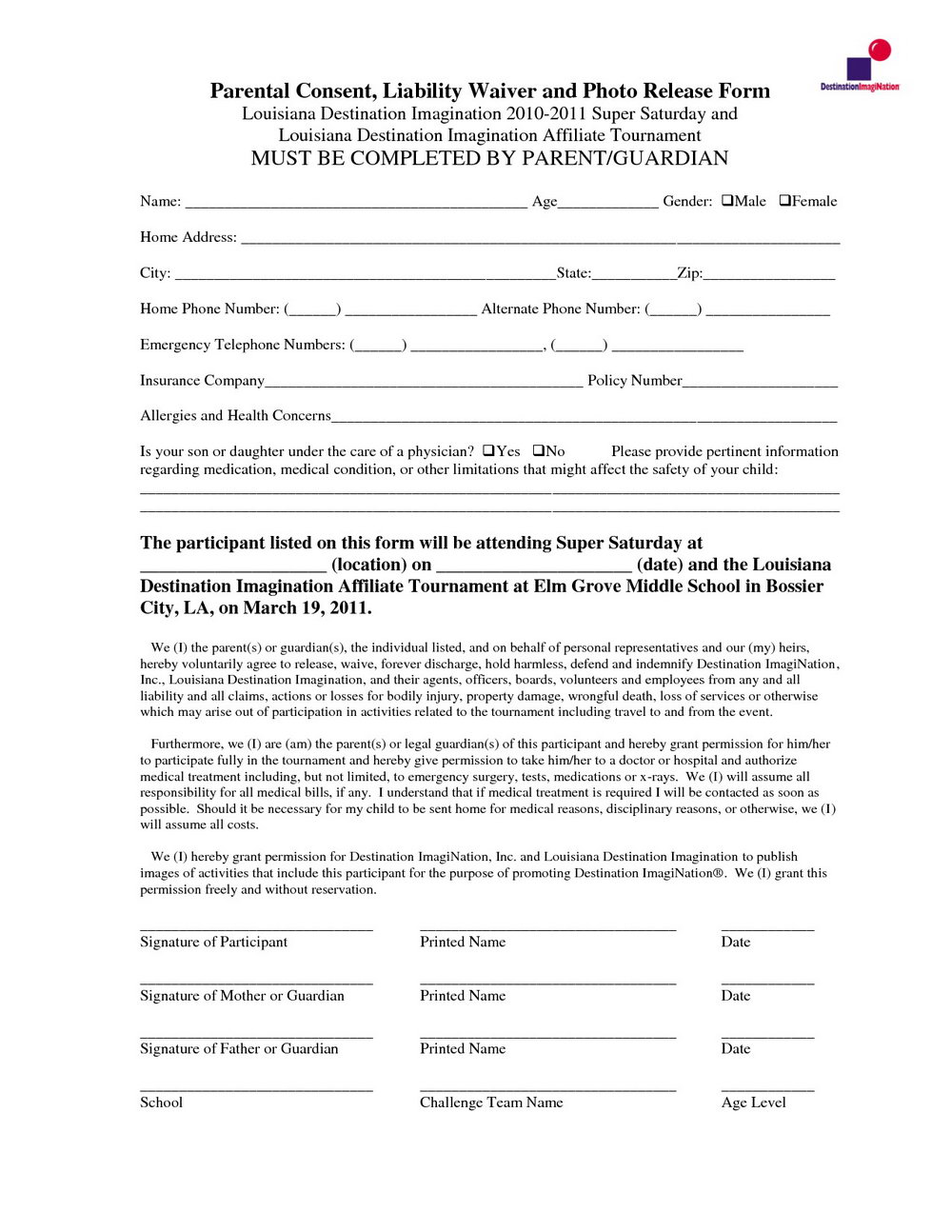 Independent Contractor Liability Waiver Form