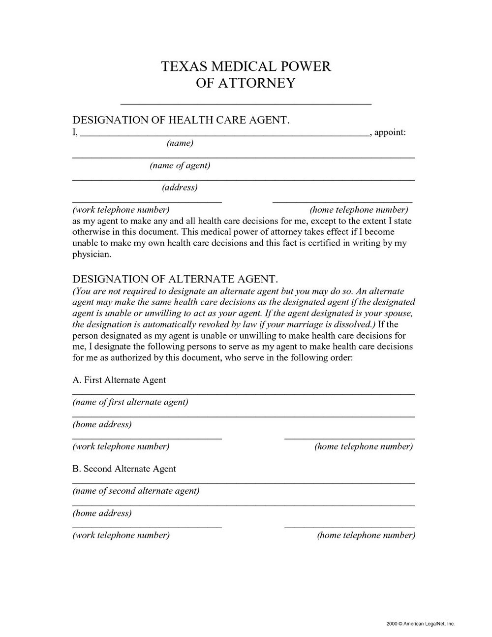 Medical Durable Power Of Attorney Form California