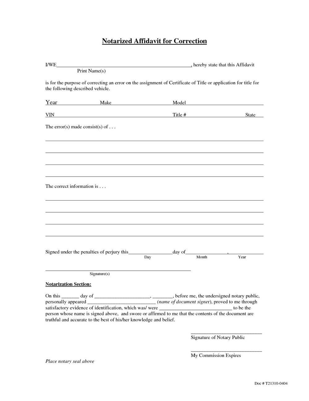 Notary Affidavit Form California
