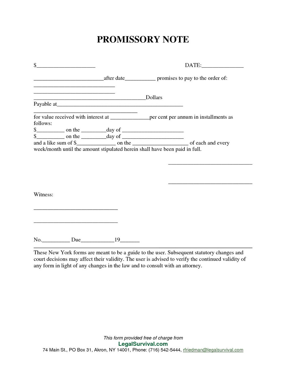 Promissory Note Forms Free Download