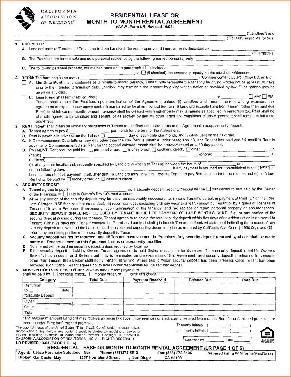 Rental Application Form California Association Of Realtors