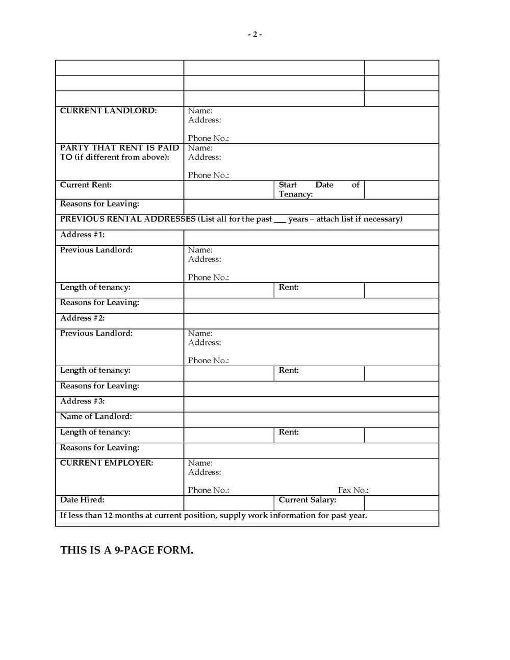 Rental Application Form Colorado