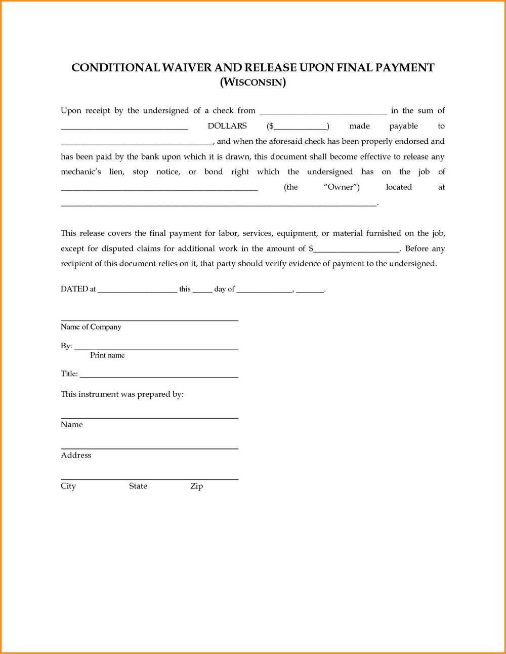 Subcontractor Lien Release Form Texas