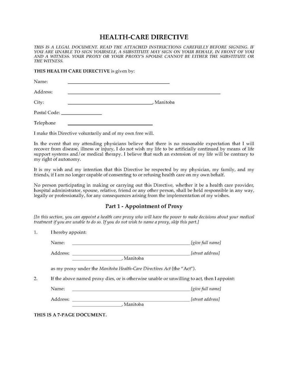 Advanced Medical Directive Form Texas