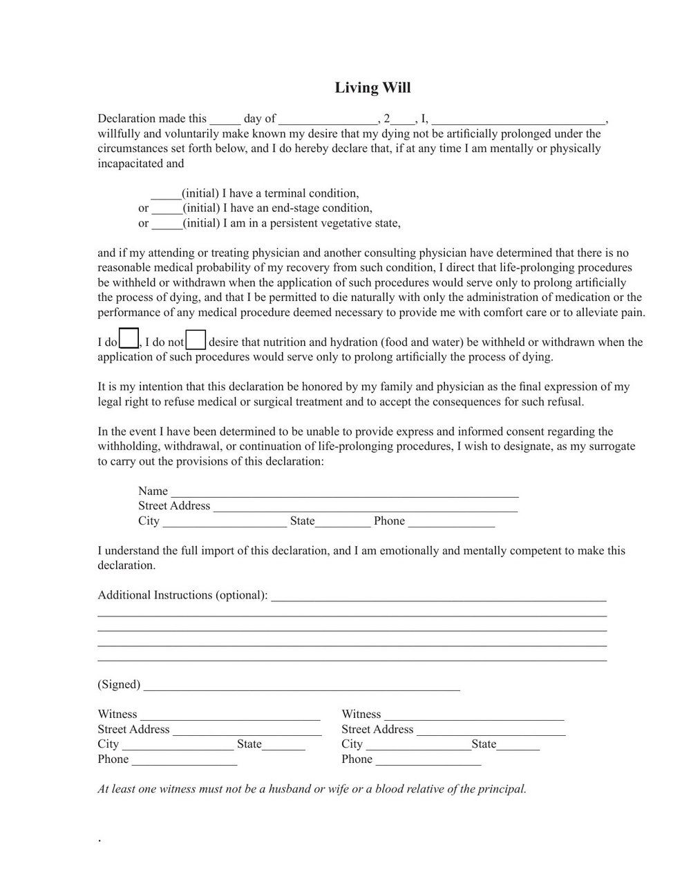 Advanced Medical Directive Form Wisconsin