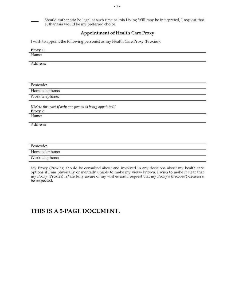 Advanced Medical Directive Form