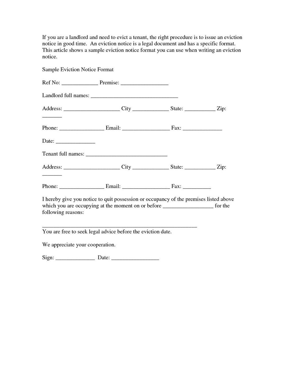 Eviction Letter Format