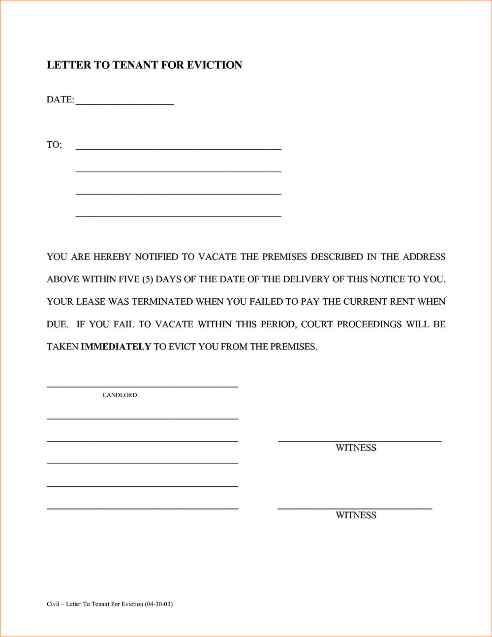 Eviction Notice Letter Format