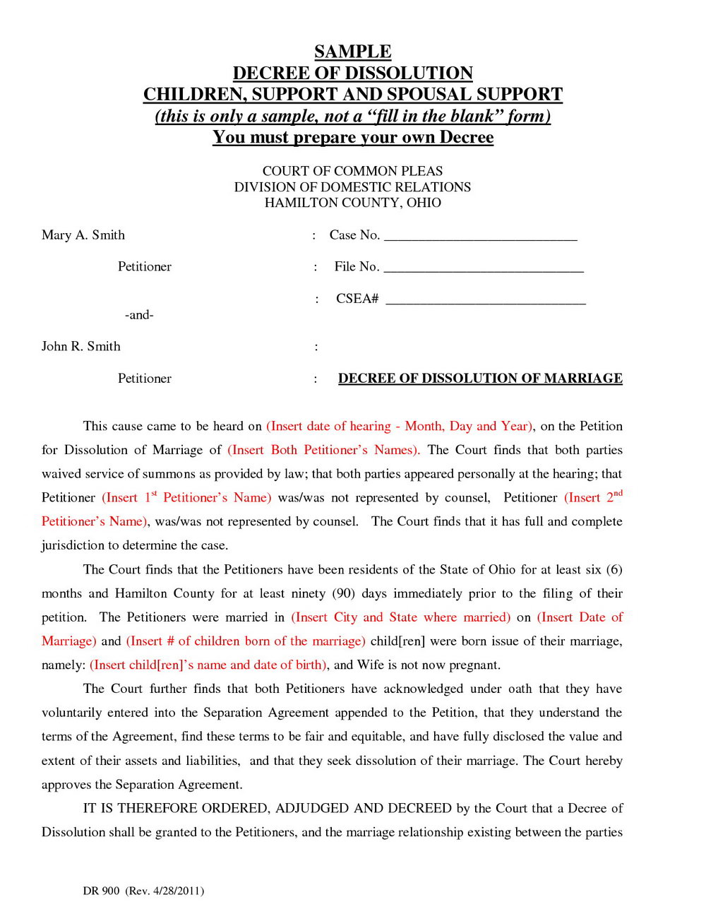 Free Ohio Divorce Forms