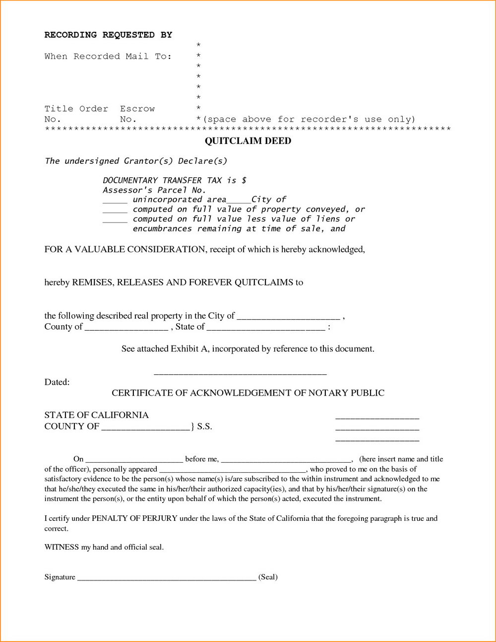 Lee County Florida Quit Claim Deed Form