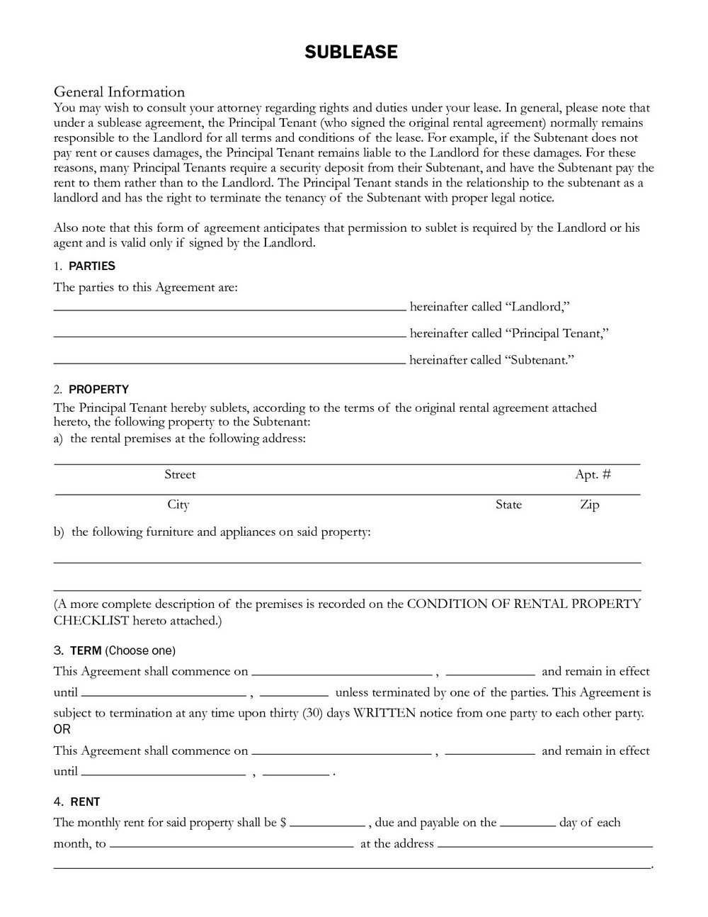 Nyc Sublease Agreement Form