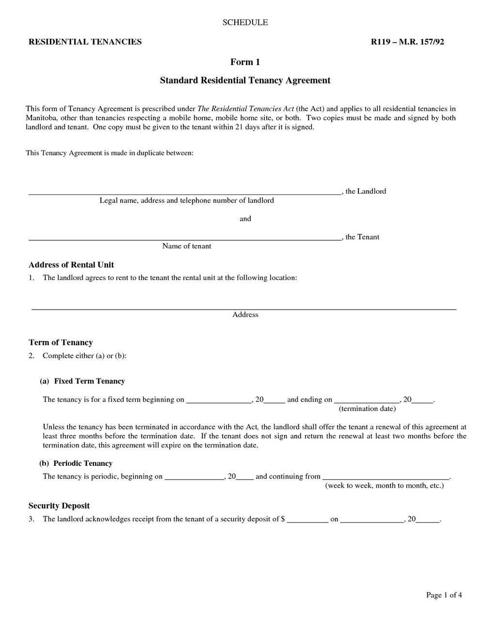 Oregon Lease Agreement Form