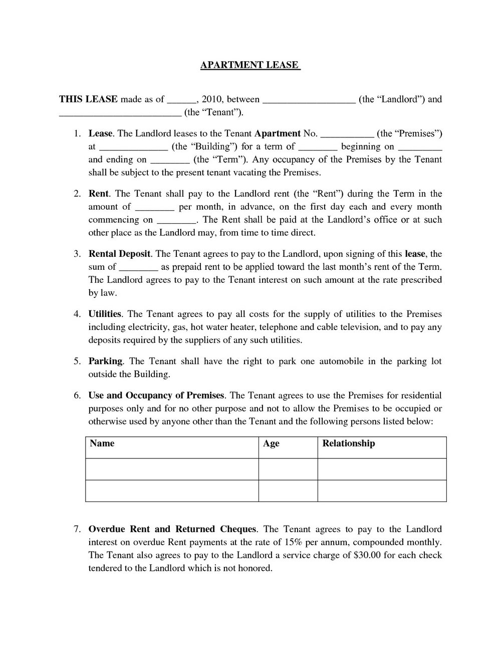 Standard Form Of Store Lease New York