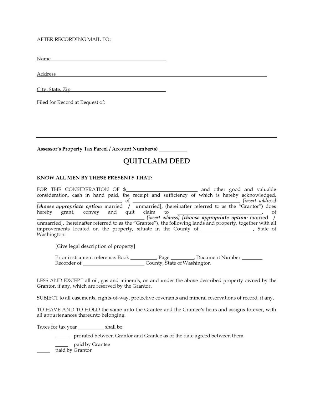 Washington Quit Claim Deed Form