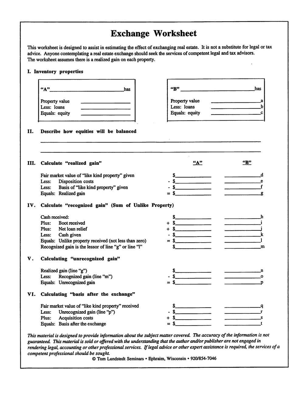 1031 Exchange Worksheets