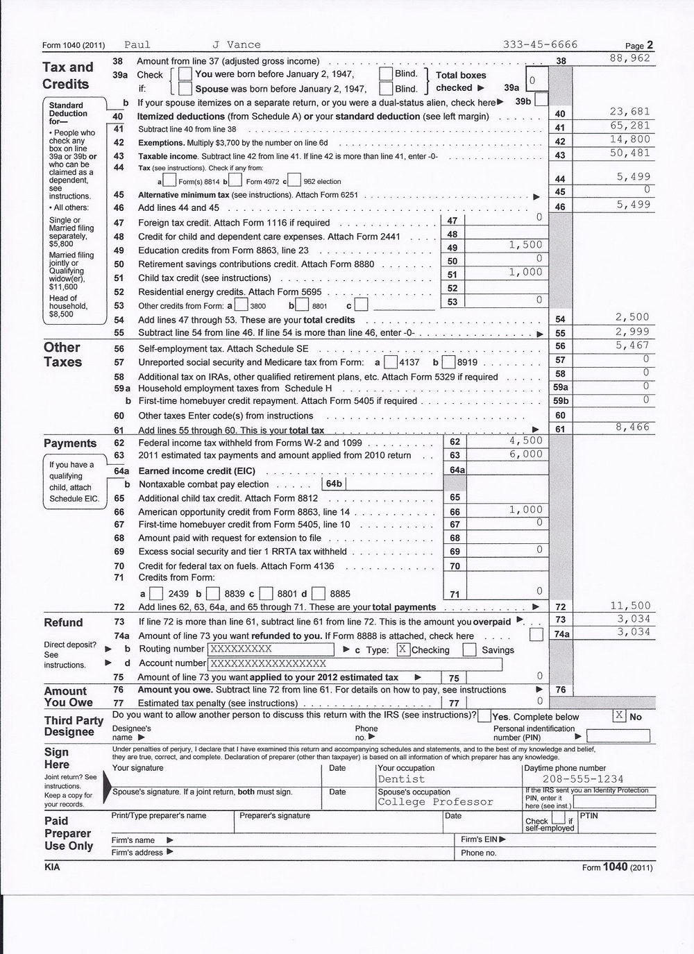 2012 Form 1040a Instructions