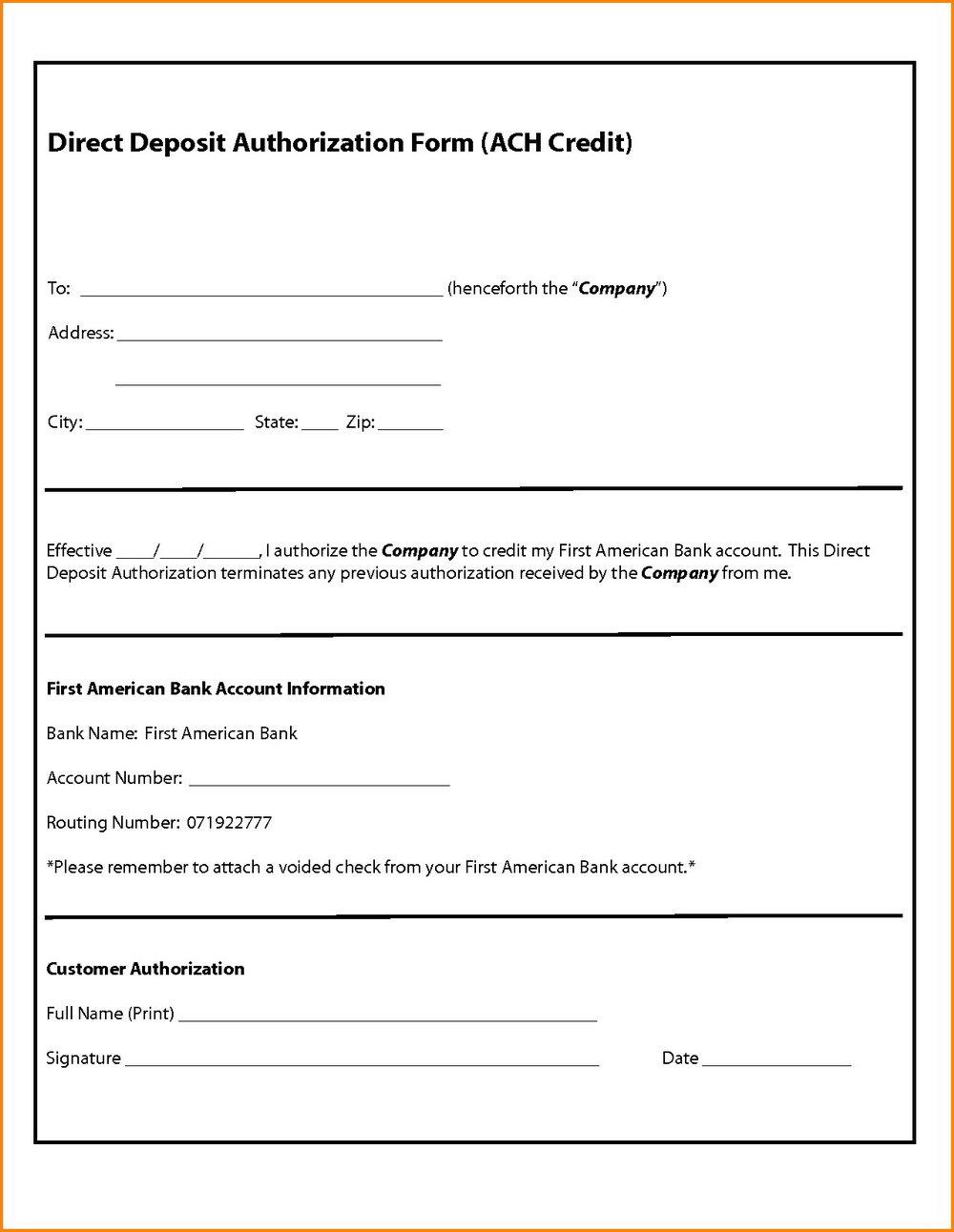 Ach Direct Deposit Form Template