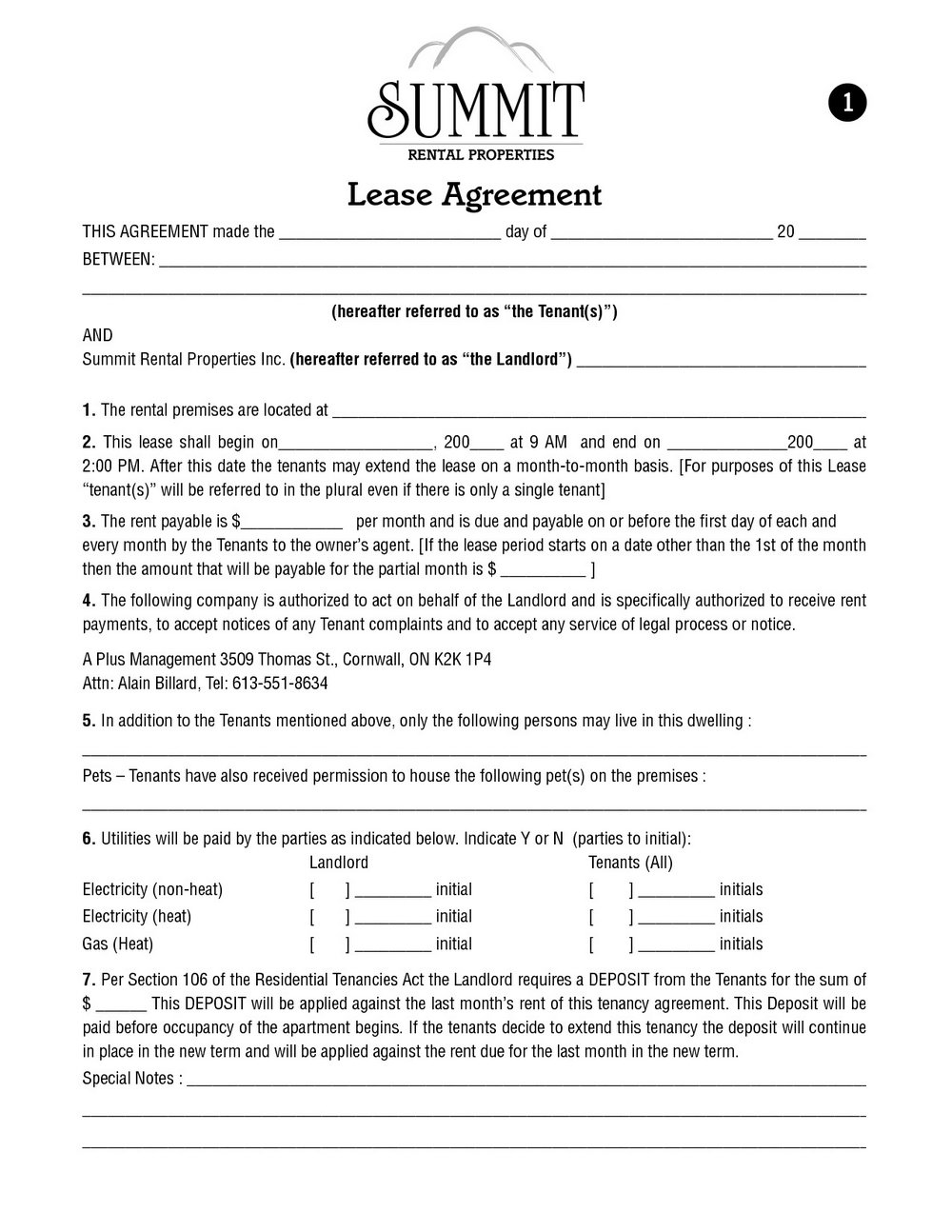 Apartment Lease Template Nj