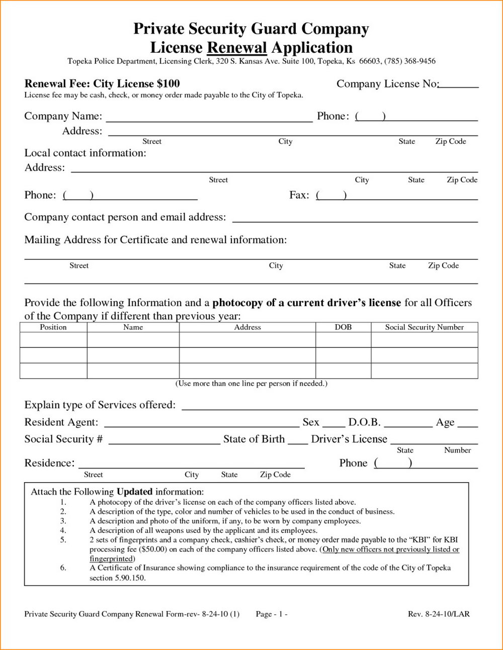 Application Form For Security Guard Licence