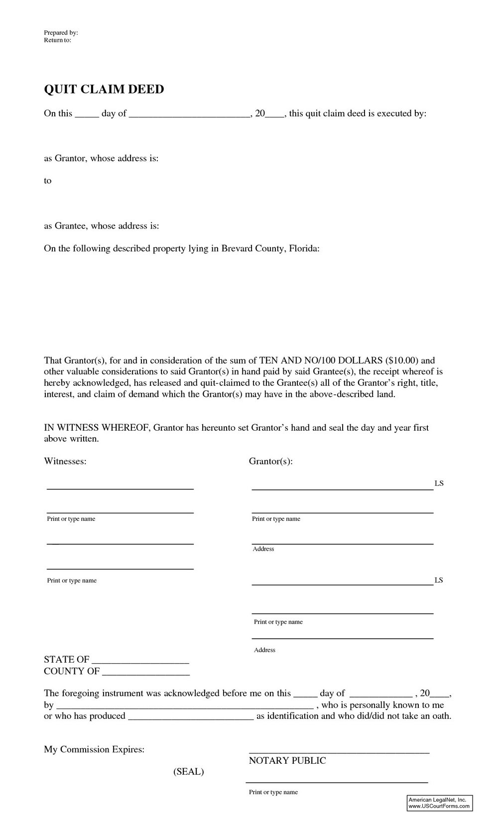 Massif image inside free printable blank quit claim deed form