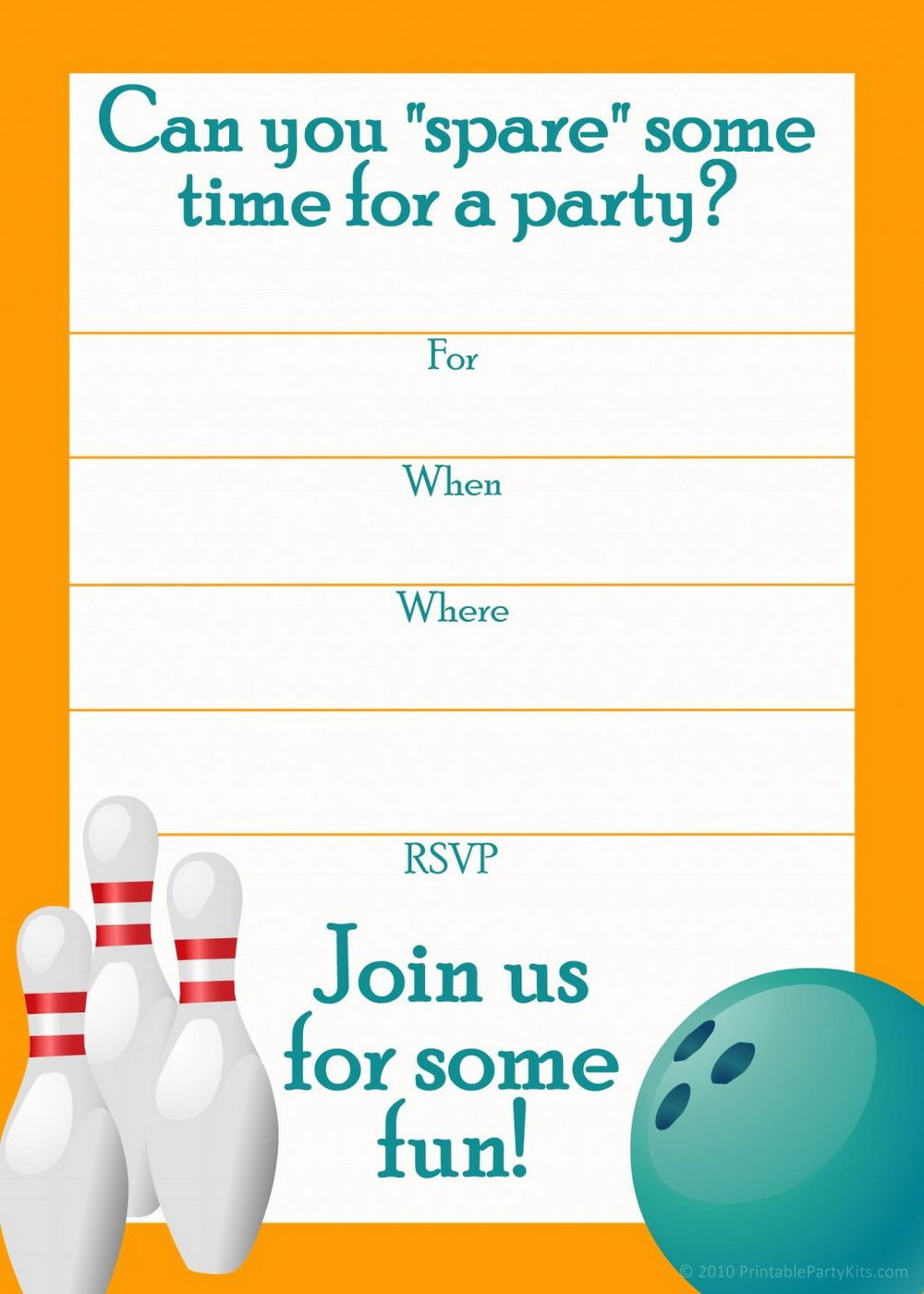 Birthday Party Invitation Template Bowling
