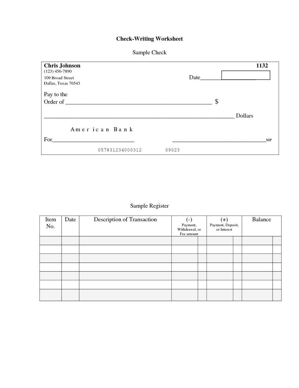 Blank Checks Worksheet