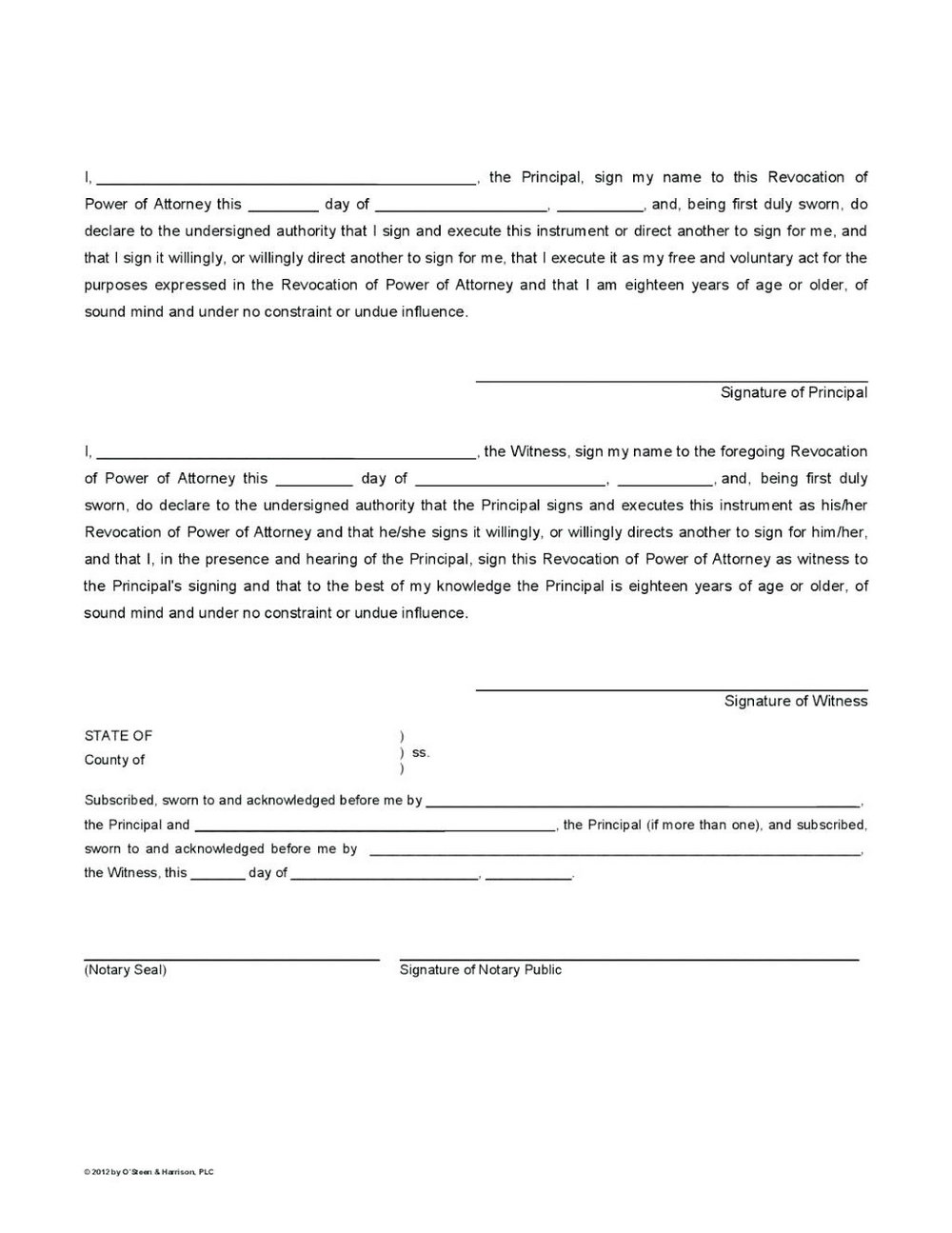 Blank Durable Power Of Attorney Form Texas