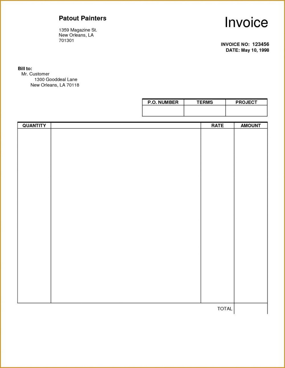 Blank Invoice Template Uk