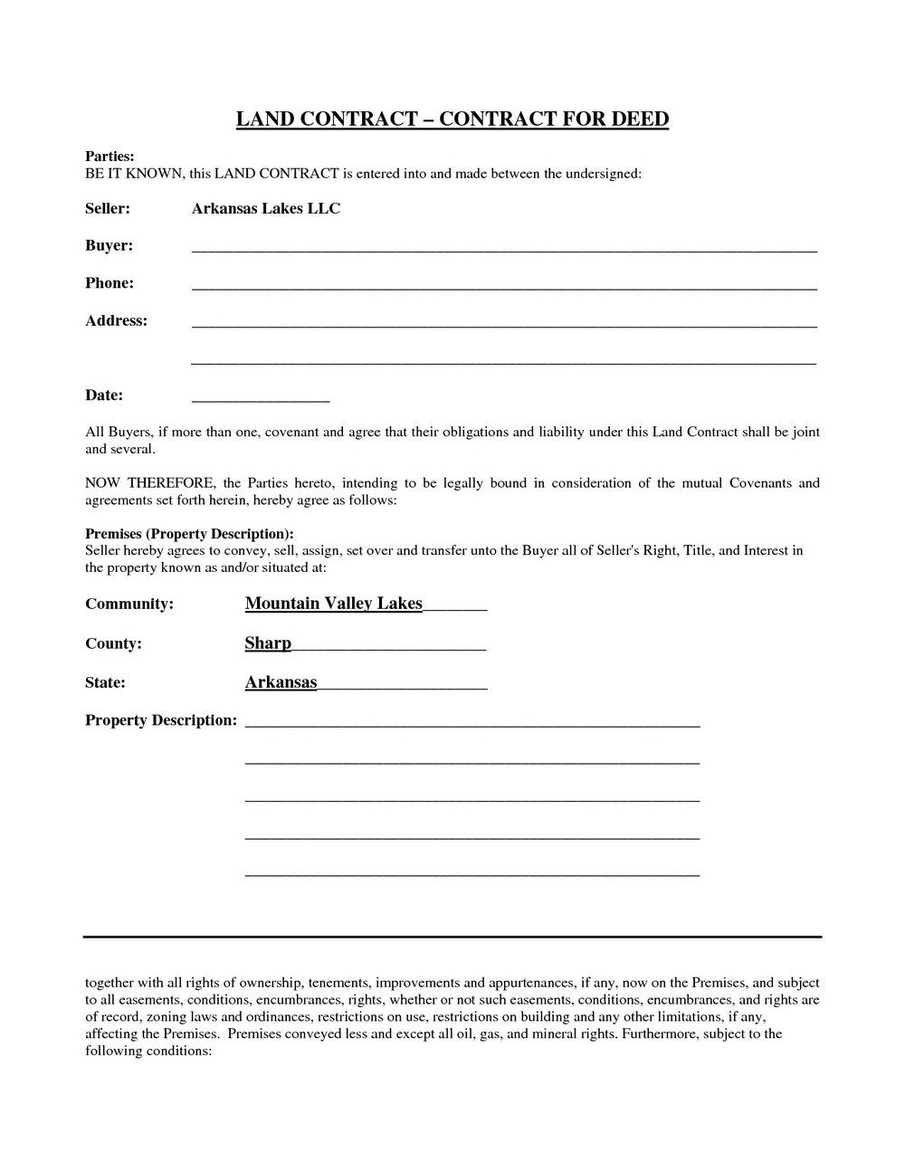 Blank Land Contract Form Michigan Free