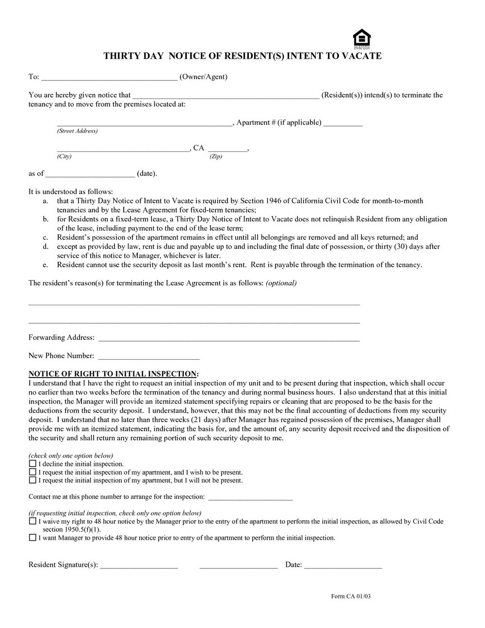 Ca 30 Day Notice To Vacate Form