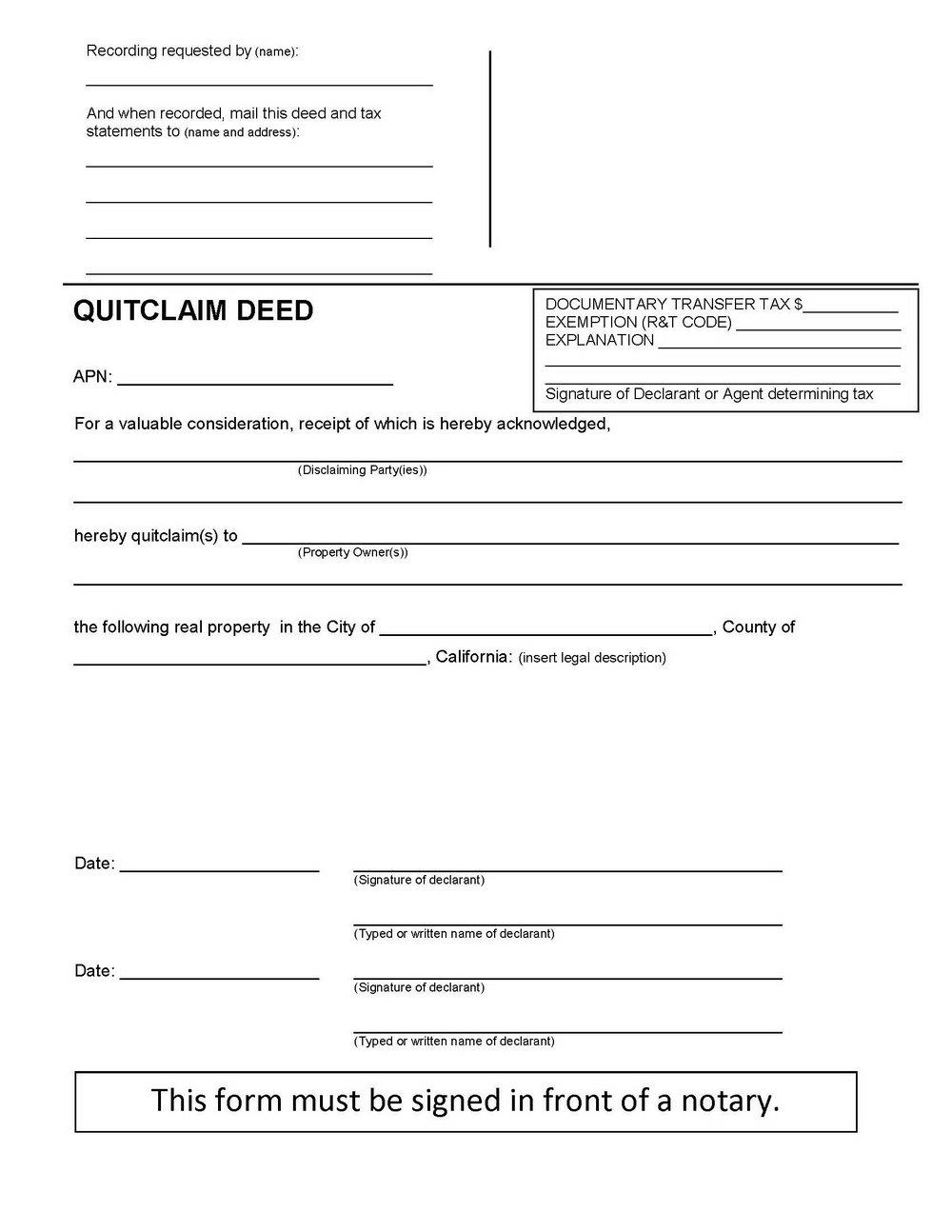 Ca Quit Claim Deed Form
