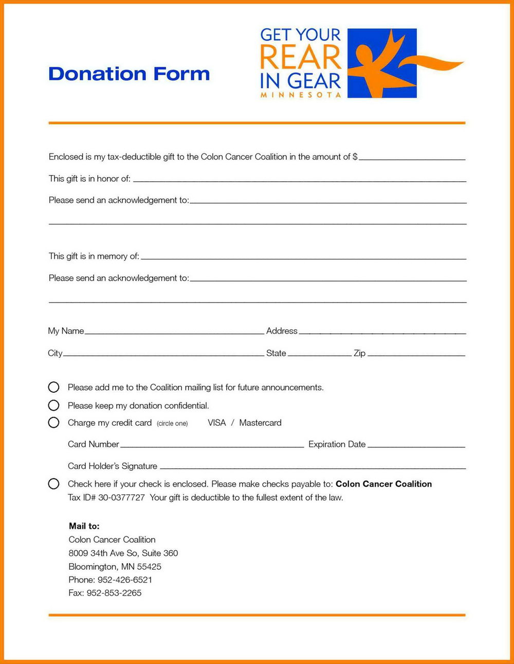 Charity Pledge Form