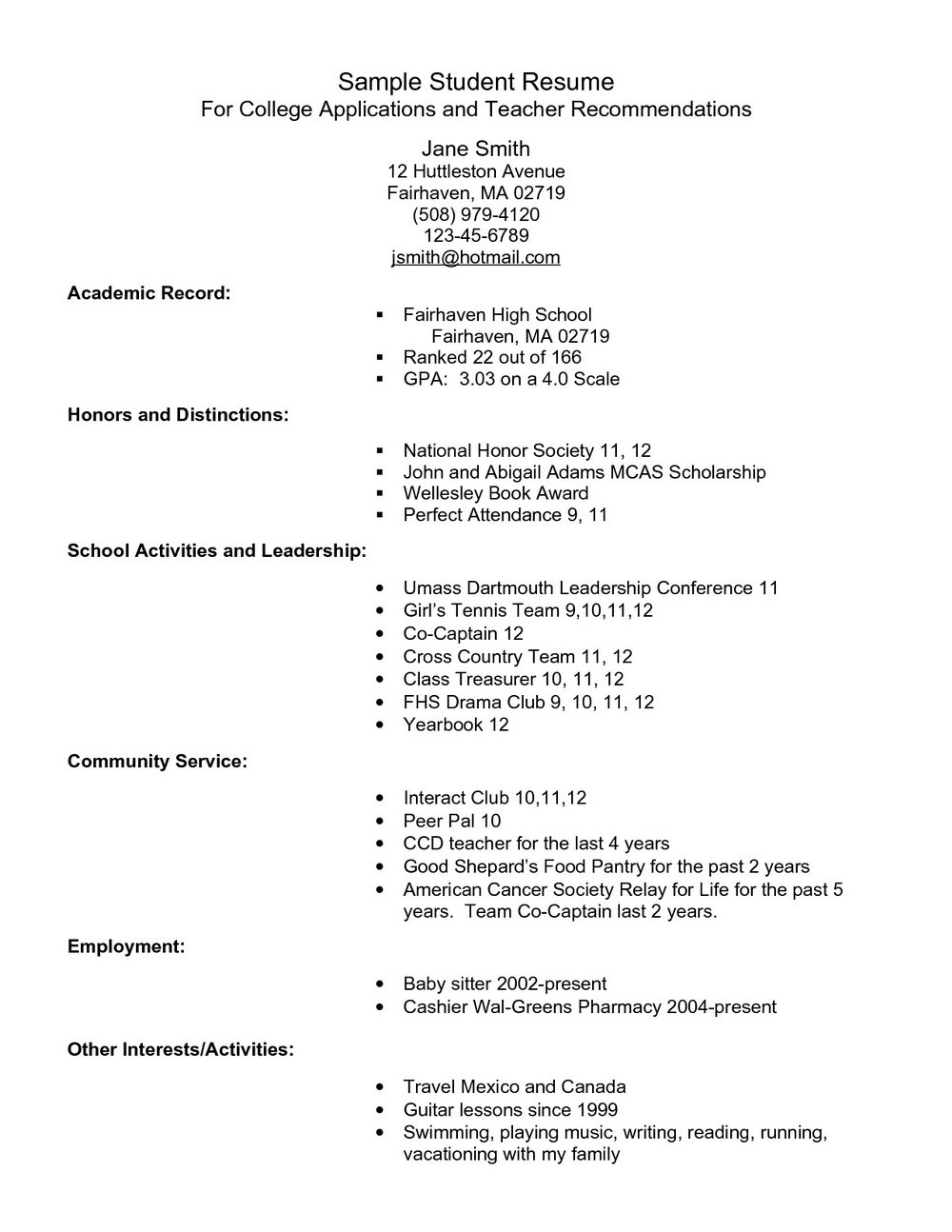 College Admission Resume Template Download