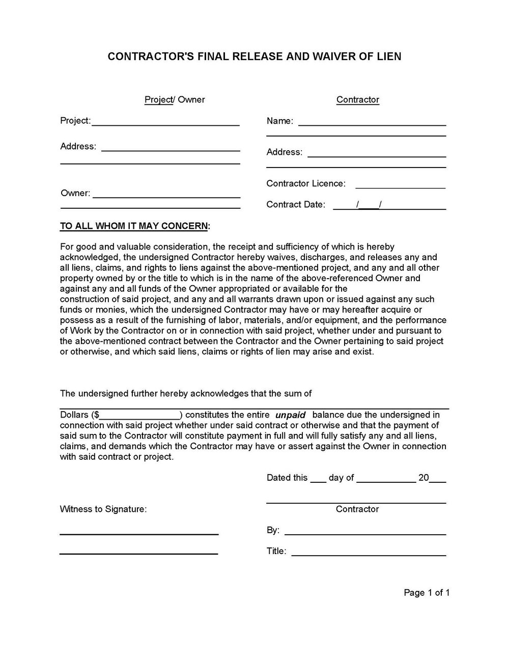 Construction Lien Release Form