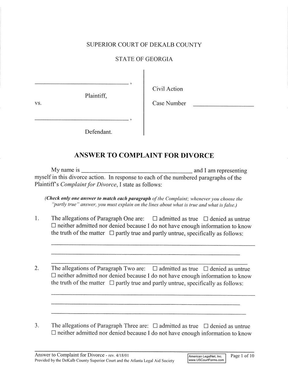 Dekalb County Divorce Forms