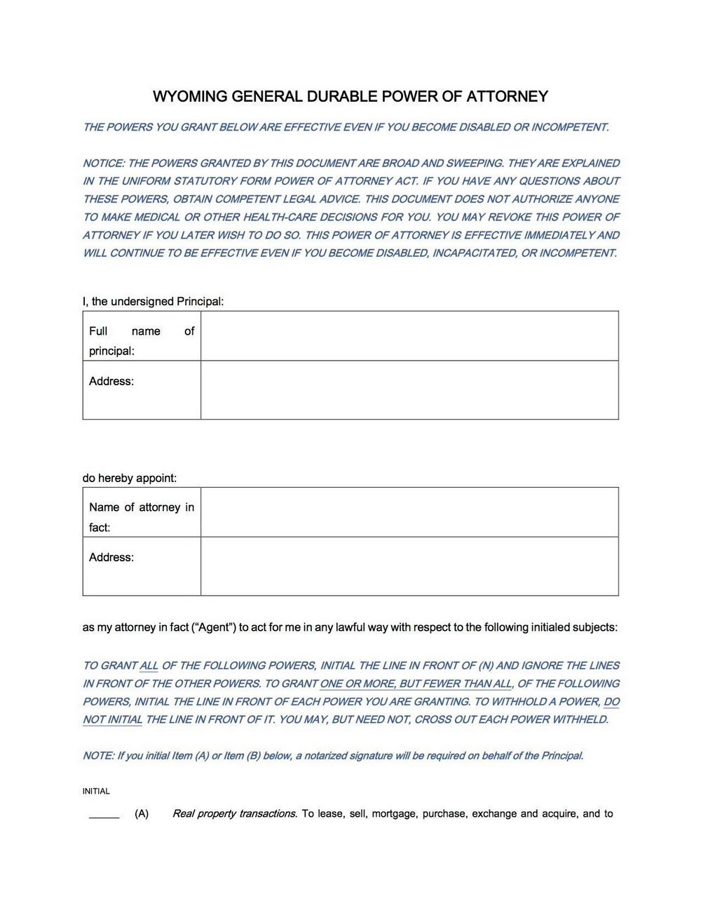 Durable Power Of Attorney Form Tennessee Free