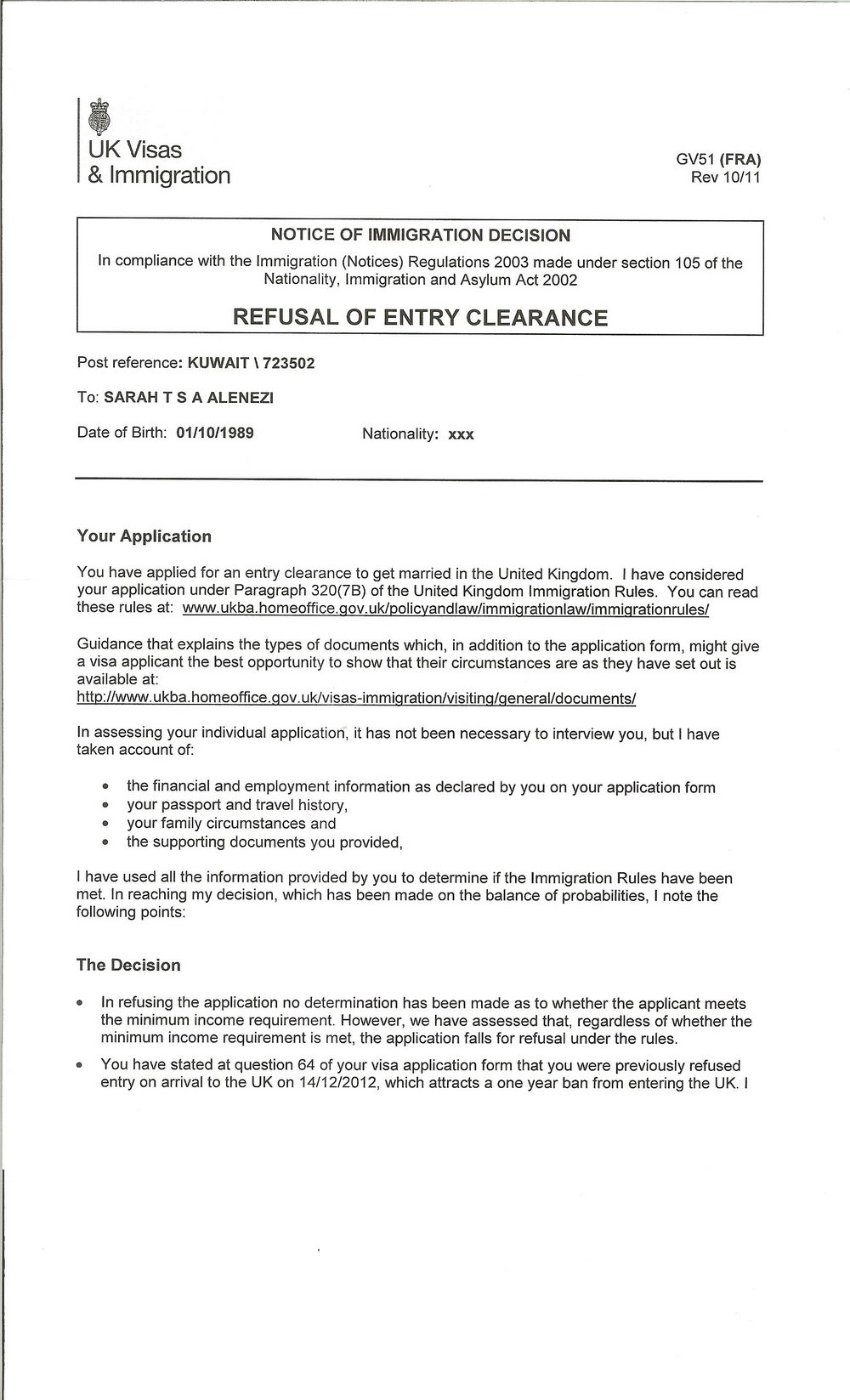 Fiance Visa Application Form
